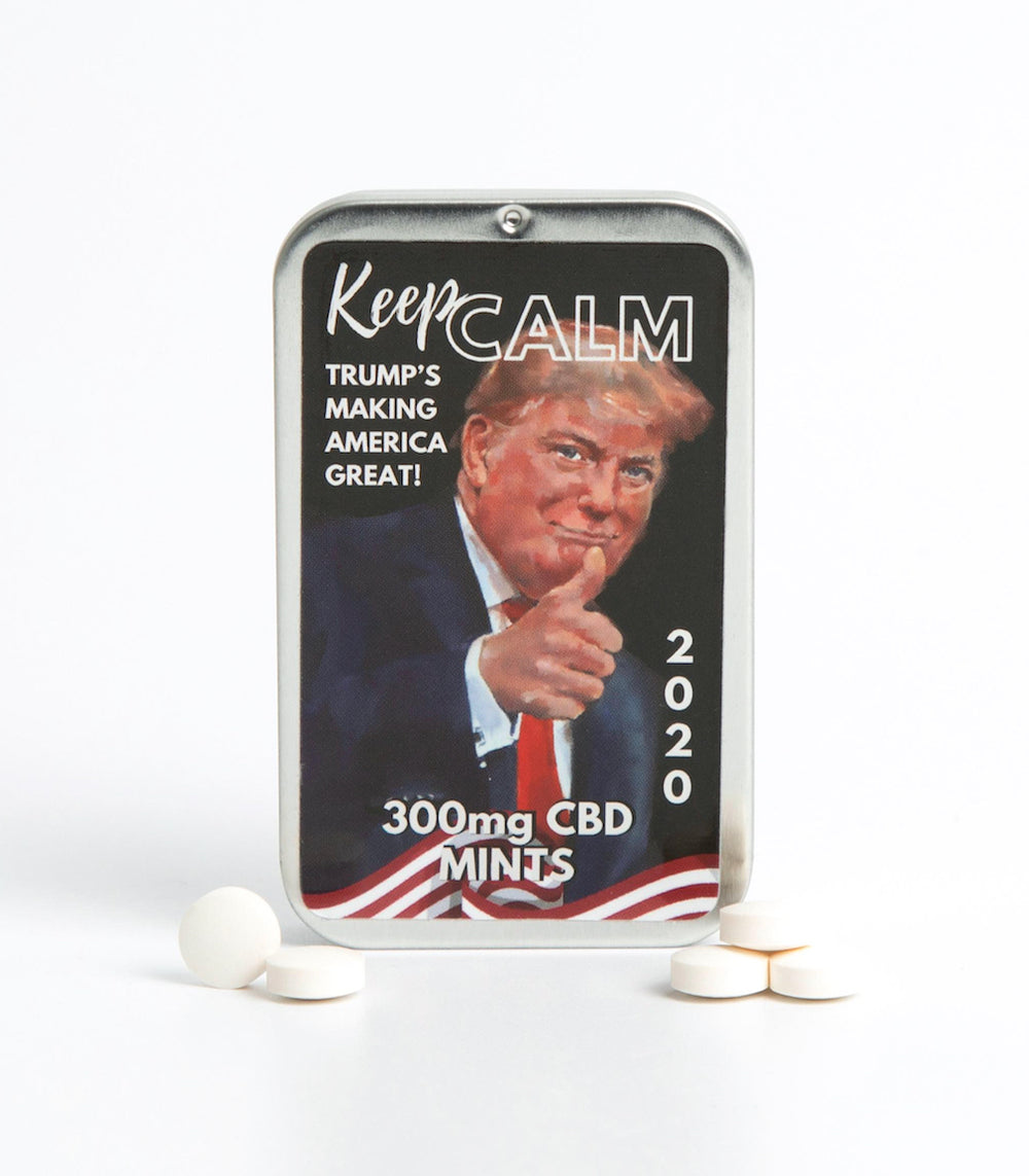"""KEEP CALM"" CBD Breath Mints in Trump Tin (300mg)*"