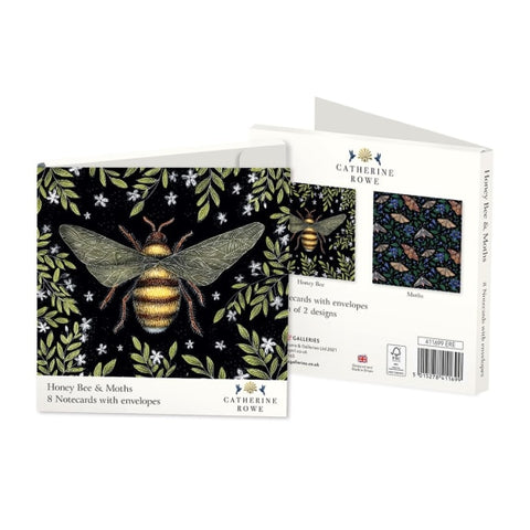 Pack of 8 Notecards - Honey Bee & Moths