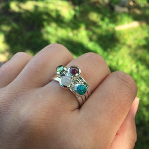 Birthstone Stacking Ring Sterling Silver