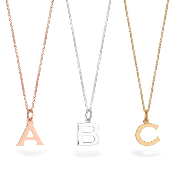 Letter Charm Necklace Gold Vermeil