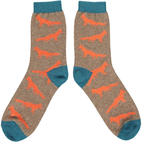 Mens Lambswool Ankle Socks - Orange Foxes