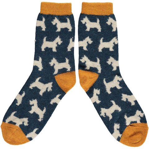 Ladies Lambswool Ankle Socks - Scottie Dogs