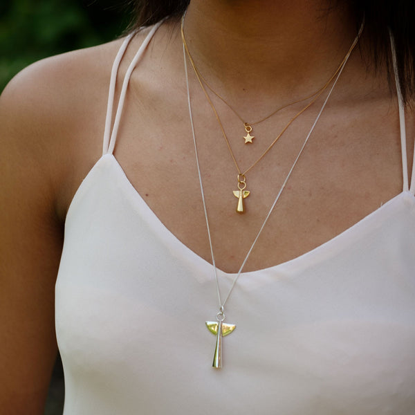 Small Angel Pendant Necklace Gold Vermeil