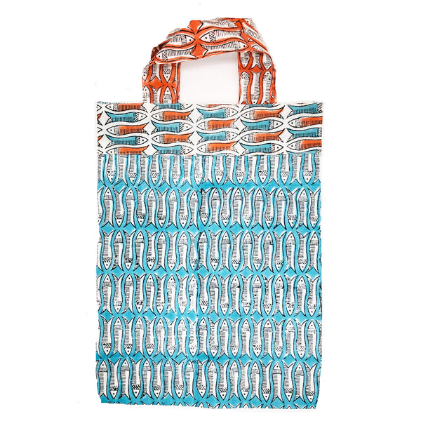 Block Printed Kimono Turquoise and Orange Fish