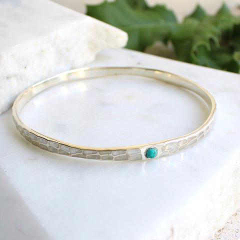 Hammered Birthstone Bangle Sterling Silver