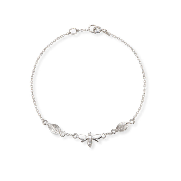 Bee and Leaf Charm Bracelet Sterling Silver