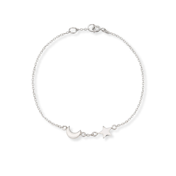 Moon and Star Charm Bracelet Sterling Silver