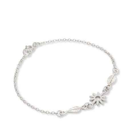 Flower and Leaf Charm Bracelet Sterling Silver