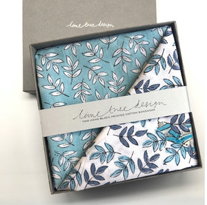 Box of 2 Block Printed Bandanas - Blue and Aqua Leaves