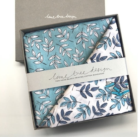 Box of 2 Block Printed Bandanas - Navy and Turquoise Leaves