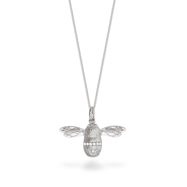 Bee Pendant Necklace Sterling Silver