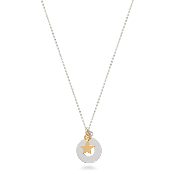 Circle and Star Necklace Sterling Silver and Vermeil