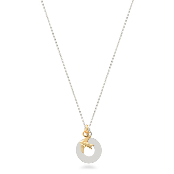 Circle and Swallow Necklace Sterling Silver and Vermeil