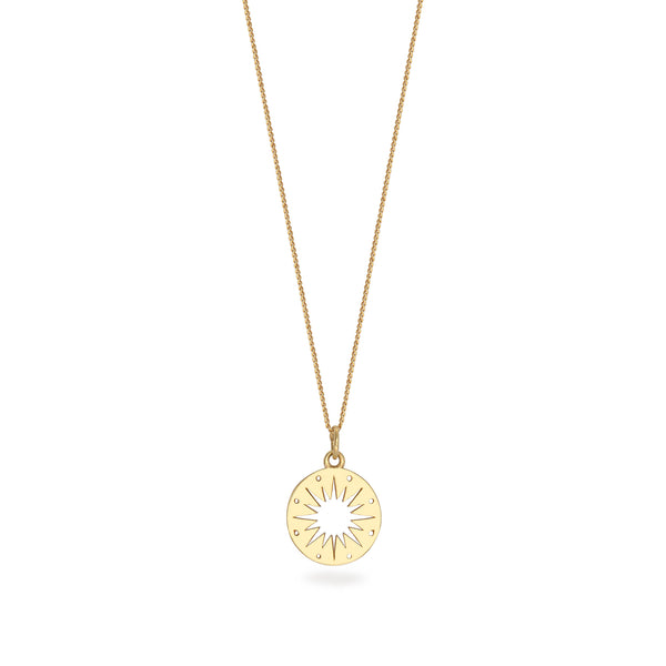 Star Token Charm Necklace Gold Vermeil