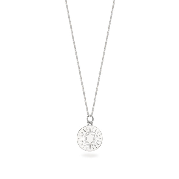 Daisy Token Charm Necklace Sterling Silver
