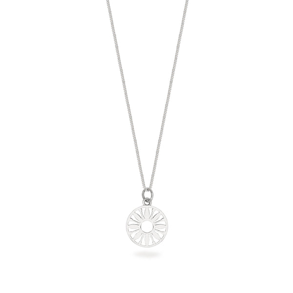 Flower Power Token Charm Necklace Sterling Silver