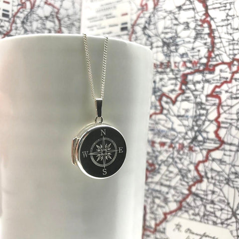 Personalised Round Compass Locket Necklace Sterling Silver