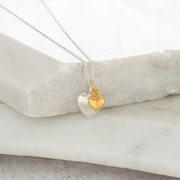 Double Heart Necklace Sterling Silver and Gold Vermeil