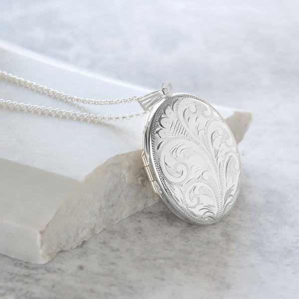 Personalised Extra Large Engraved Locket Necklace Sterling Silver