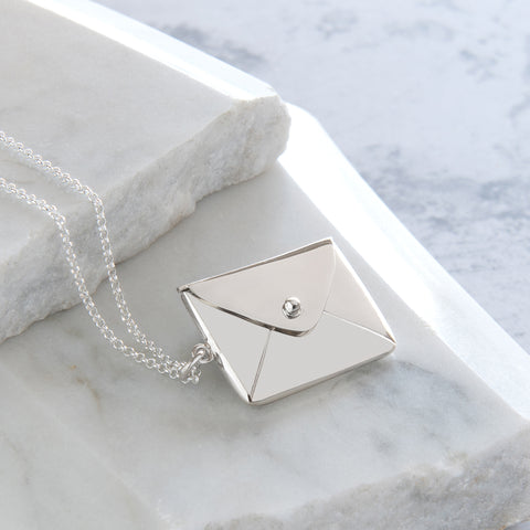 Personalised Envelope Locket Necklace Sterling Silver