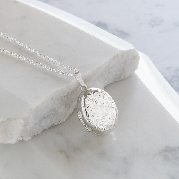 Engraved Oval Locket Necklace Sterling Silver