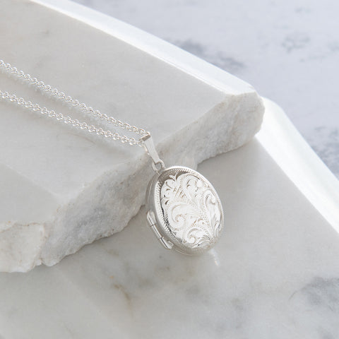 Personalised Engraved Oval Locket Necklace Sterling Silver
