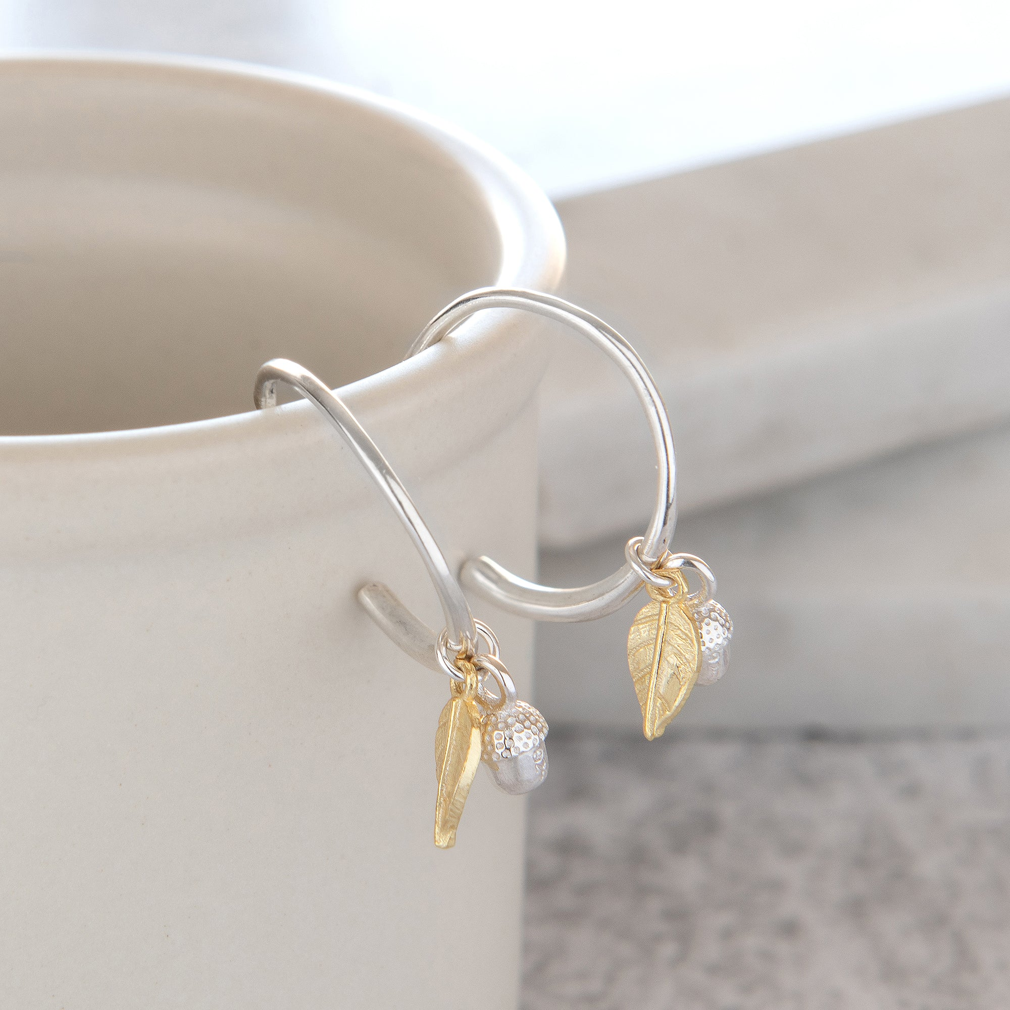 Half Hoop Earrings with Acorn and Leaf Sterling Silver