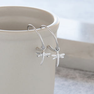 Half Hoop Earrings with Dragonfly Sterling Silver