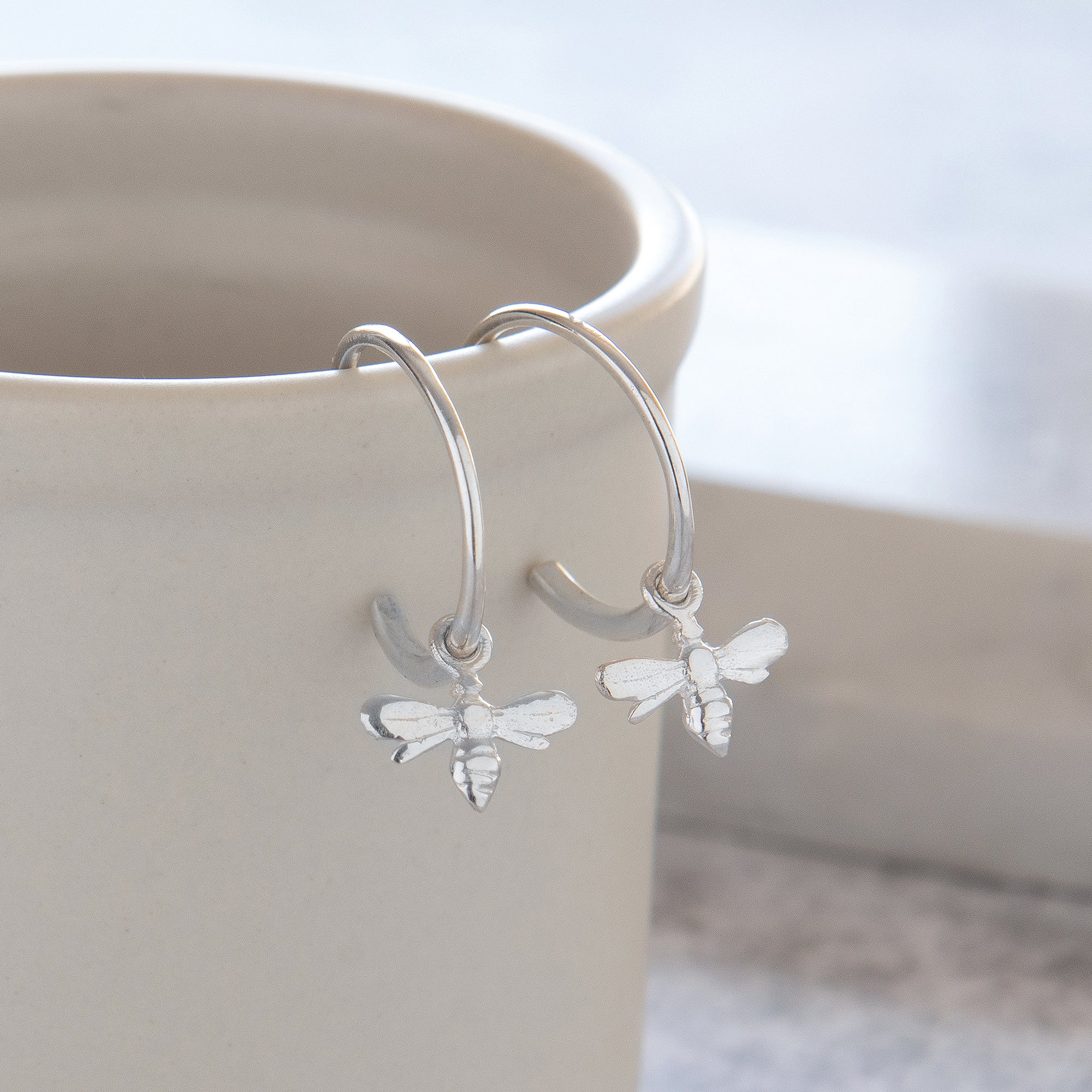 Half Hoop Earrings with Bee Sterling Silver