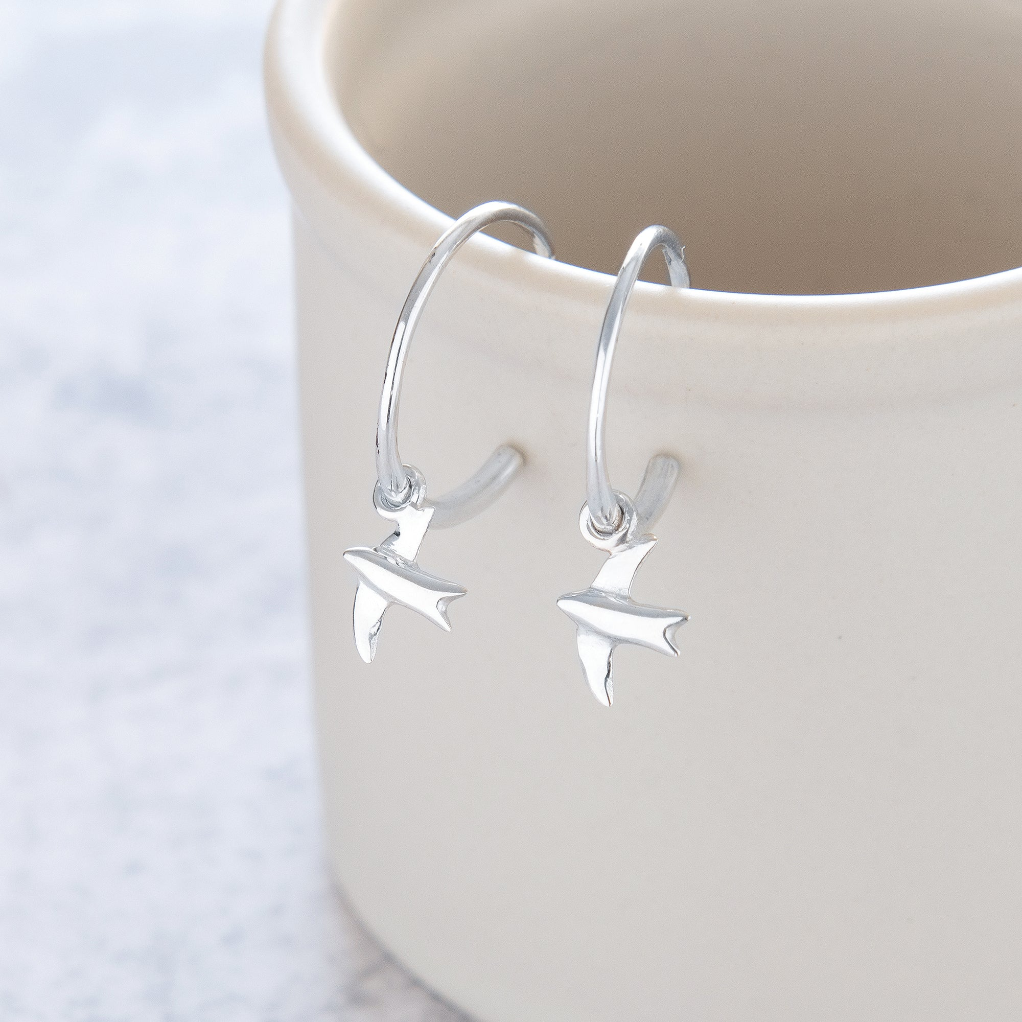 Half Hoop Earrings with Swallow Sterling Silver