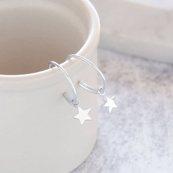 Half Hoop Earrings with Star Sterling Silver