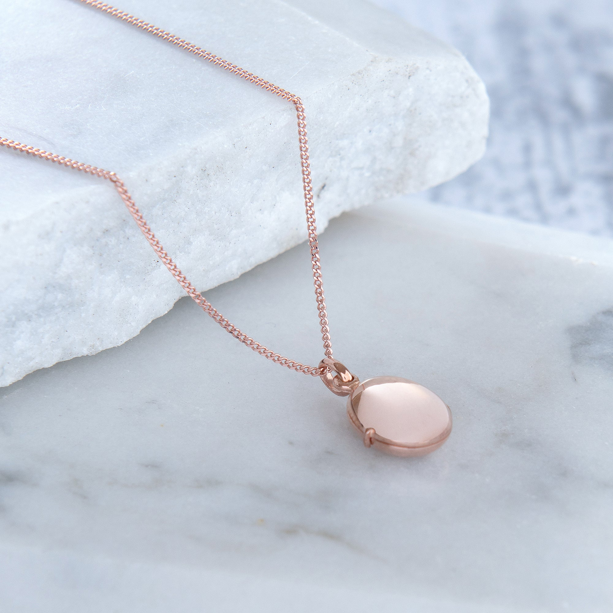 Pebble Locket Necklace Rose Gold Vermeil