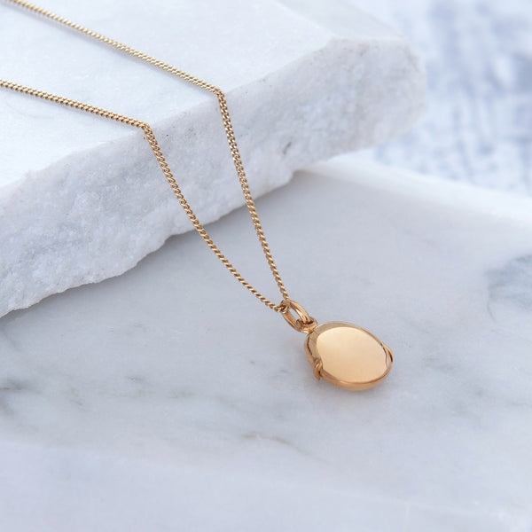 Pebble Locket Necklace Gold Vermeil