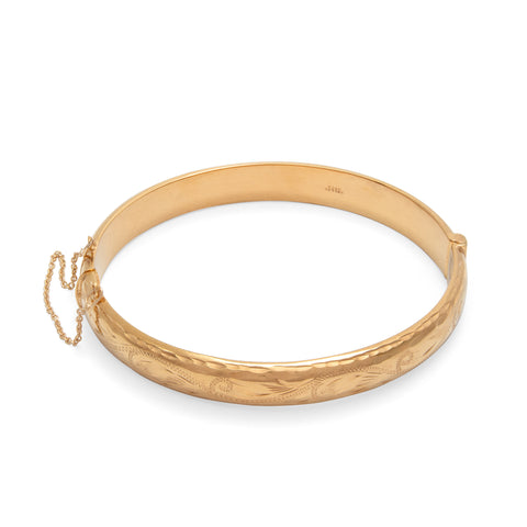 Hand Engraved Vintage Style Bangle Rolled Gold