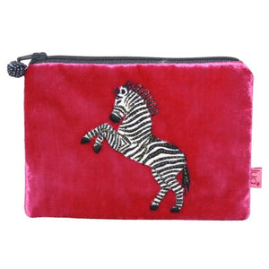 Velvet Coin Purse with Dancing Zebra Appliqué: Hot Pink