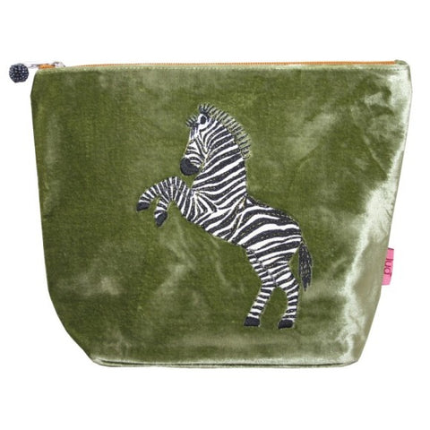 Large Velvet Cosmetic Purse with Dancing Zebra Appliqué: Olive