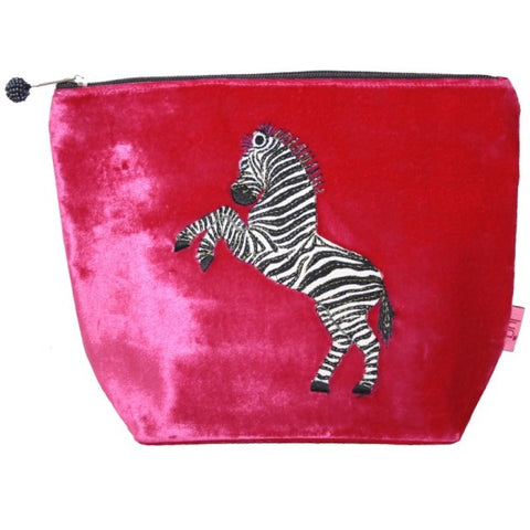Large Velvet Cosmetic Purse with Dancing Zebra Appliqué: Hot Pink