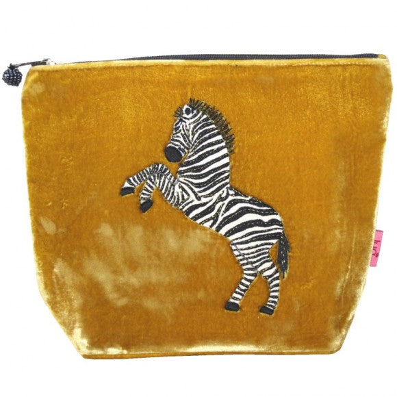 Large Velvet Cosmetic Purse with Dancing Zebra Appliqué: Mustard