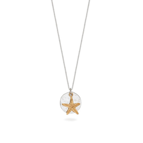 Hammered Disc with Starfish Necklace Sterling Silver and Vermeil