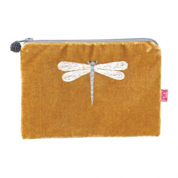 Velvet Coin Purse with Dragonfly Appliqué: Gold