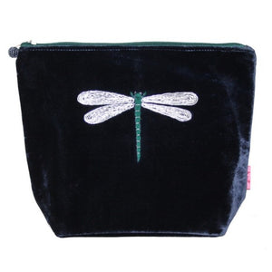 Large Velvet Cosmetic Purse with Dragonfly Appliqué: Navy