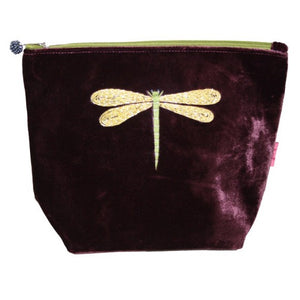Large Velvet Cosmetic Purse with Dragonfly Appliqué: Fig