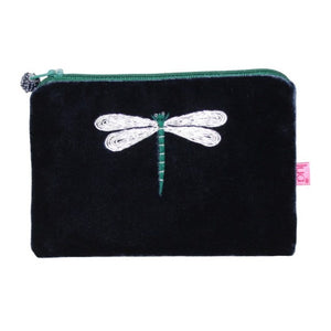 Velvet Coin Purse with Dragonfly Appliqué: Navy