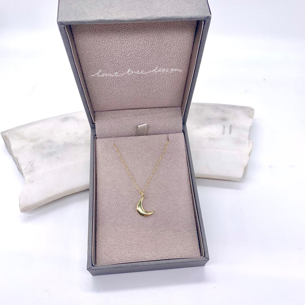 Moon Charm Necklace 14ct Solid Gold