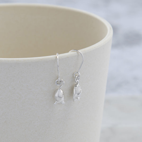 Tiny Mouse Hook Earrings Sterling Silver