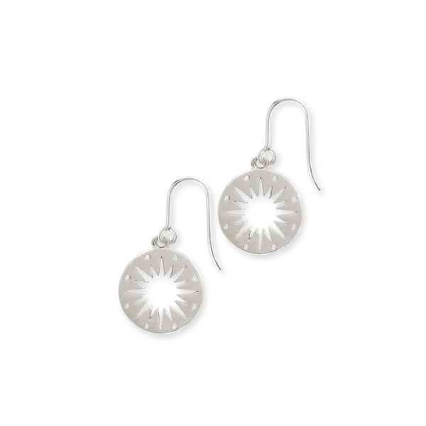 Star Token Hook Earrings Sterling Silver