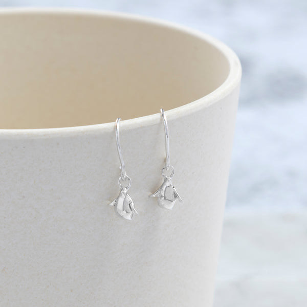 Tiny Penguin Hook Earrings Sterling Silver