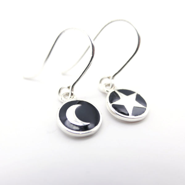 Mini Moon and Star Enamel Hook Earrings Sterling Silver or Gold Vermeil