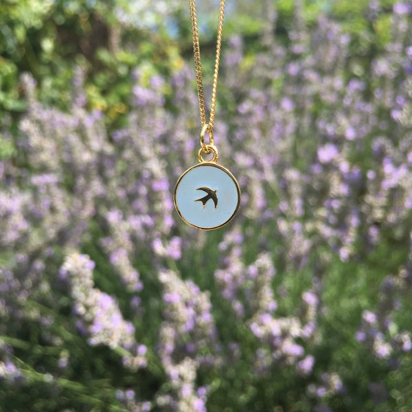 Small Swallow Enamel Necklace Gold Vermeil