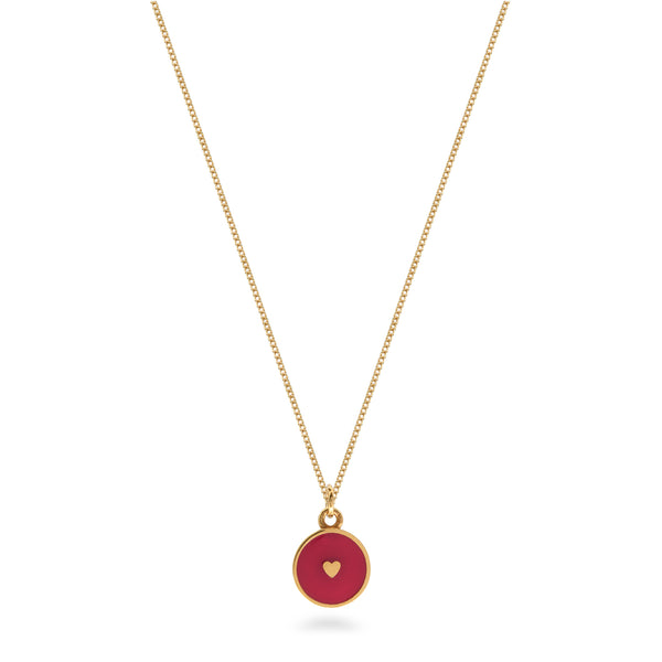 Small Heart Enamel Necklace Gold Vermeil